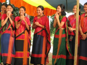 Young Chittagong women at an almsgiving ceremony