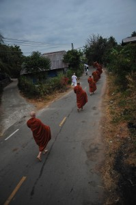 The monks from Wat Pah Nanachat on alms