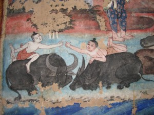 Children Playing on Water Buffalo